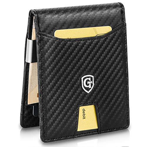 7671f3ad0f7ad ... für Männer – GenTo Herren Designer-Geldbörse Singapur mit Geldklammer  und Münzfach – Innovativer Geldbeutel mit Schiebefach – RFID und NFC Schutz