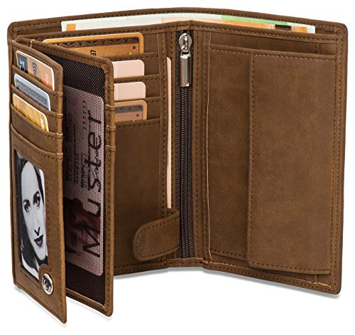 fe9d4b4e93c0e ... Geschenk für Herren – Geldbeutel Hochformat – Geldbörse groß in braun  mit Edler Geschenkbox – Elephant – 15 Kartenfächer RFID Schutz – Großes  Münzfach