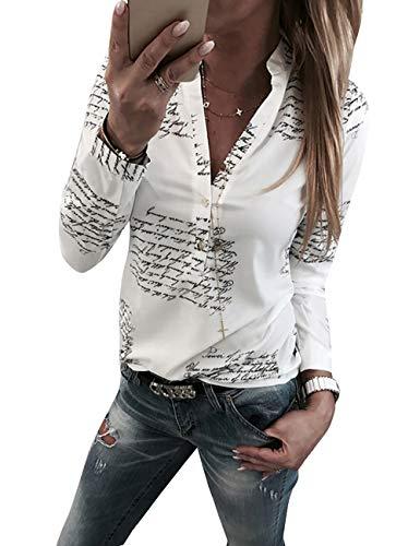 1176fc469cbd7a Yieune Damen Bluse Langarm V-Ausschnitt Elegant Blumen Hemd Casual  Oberteile Tops